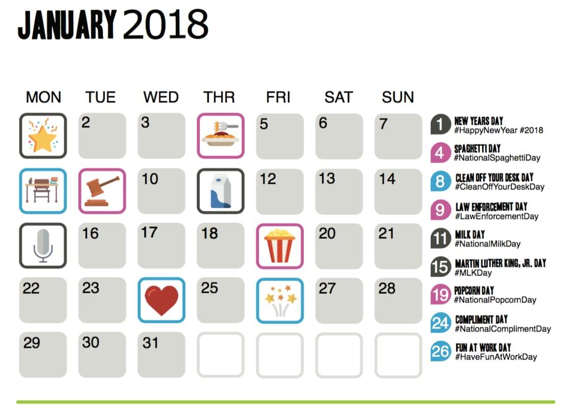 Funeral Home Social Media Calendar